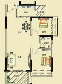 大亚湾德州城毛坯2房78平米卖92万 户型方正实用